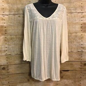 Lucky Brand Large Shirt Top Cream Knit Lace Yoke
